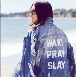 Jackets & Blazers - WAKE PRAY SLAY! Destroyed Boyfriend Denim Jacket